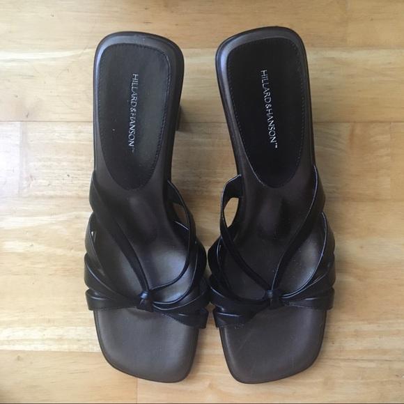 🧿#1 Black slip-on square toed sandals